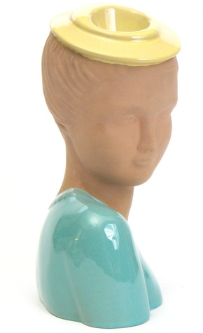 Woman with Round Hat head vase (GMB C805), by Jean Lawyer (1937) for Terra Cotta Expressions, terracotta stained Malinite with yellow glazed hat, and turquoise glazed clothing